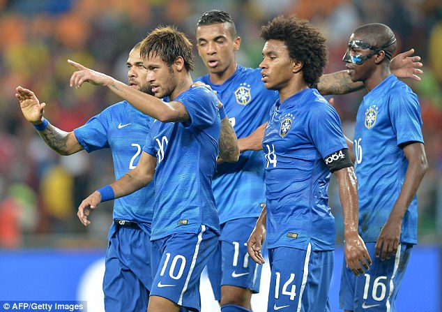 Too easy: Neymar bagged a hat-trick against South Africa in the friendly