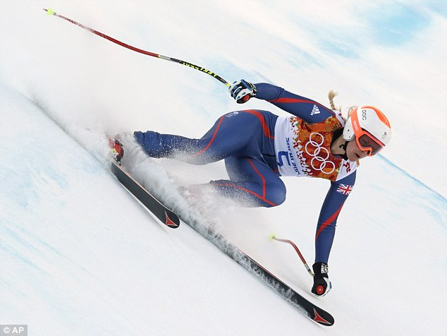 Covering up: Team GB's Chemmy Alcott says the sun has caused her skin to burn