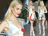 West Hollywood, CA - Jaime King shows off her long legs in an original patchwork dress for the CFDA/Vogue Fashion Fund event at the Chateau Marmont in West Hollywood. AKM-GSI       October 21, 2014 To License These Photos, Please Contact : Steve Ginsburg (310) 505-8447 (323) 423-9397 steve@akmgsi.com sales@akmgsi.com or Maria Buda (917) 242-1505 mbuda@akmgsi.com ginsburgspalyinc@gmail.com