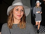 Los Angeles, CA - Singer/actress, Katharine McPhee, appears to have forgotten to put pants on as she exits 'Craig's' restaurant.  She was seen wearing a grey micro sweater dress with a white shirt under that made it appear like it was a regular sweater rather than a dress.  She paired it with a grey panama hat, black patent leather booties, and a Chanel flap chained shoulder bag.    AKM-GSI       October 21, 2014 To License These Photos, Please Contact : Steve Ginsburg (310) 505-8447 (323) 423-9397 steve@akmgsi.com sales@akmgsi.com or Maria Buda (917) 242-1505 mbuda@akmgsi.com ginsburgspalyinc@gmail.com