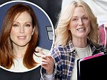 """New York, NY - It looks like Julianne Moore is having more fun as a blonde as she had some laughs on the set of her upcoming movie, """"Freeheld"""".  Ellen Page, who plays Julianne's girlfriend in the movie, was also on set.  \nAKM-GSI          October 21, 2014\nTo License These Photos, Please Contact :\nSteve Ginsburg\n(310) 505-8447\n(323) 423-9397\nsteve@akmgsi.com\nsales@akmgsi.com\nor\nMaria Buda\n(917) 242-1505\nmbuda@akmgsi.com\nginsburgspalyinc@gmail.com"""