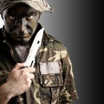 soldier with survival knife