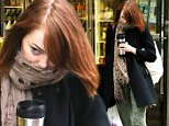 Actress Emma Stone gets into a hair battle with the wind as she grabs a cup of coffee before her matinee performance of Cabaret in West Village on October 22, 2014 in New York City\n\nPictured: Emma Stone\nRef: SPL872259  221014  \nPicture by: Christopher Peterson/Splash News\n\nSplash News and Pictures\nLos Angeles: 310-821-2666\nNew York: 212-619-2666\nLondon: 870-934-2666\nphotodesk@splashnews.com\n