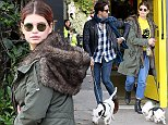Mandatory Credit: Photo by Beretta/Sims/REX (4217880e)  Pixie Geldof and dog  Pixie Geldof and Nick Grimshaw out and about, London, Britain - 23 Oct 2014  Pixie Geldof and Nick Grimshaw were spotted walking their dogs in Primrose Hill