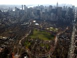 """Aerial view of artists Christo and Jeanne-Claude's """"The Gates"""" project for Central Park in New York February 11, 2005.  The art project will be on display through February 27.  Jeanne-Claude died of a brain aneurysm on November 18th 2009 at the age of 74."""