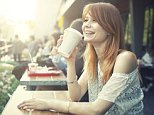 A stock photo of a girl drinking coffee in a cafe.