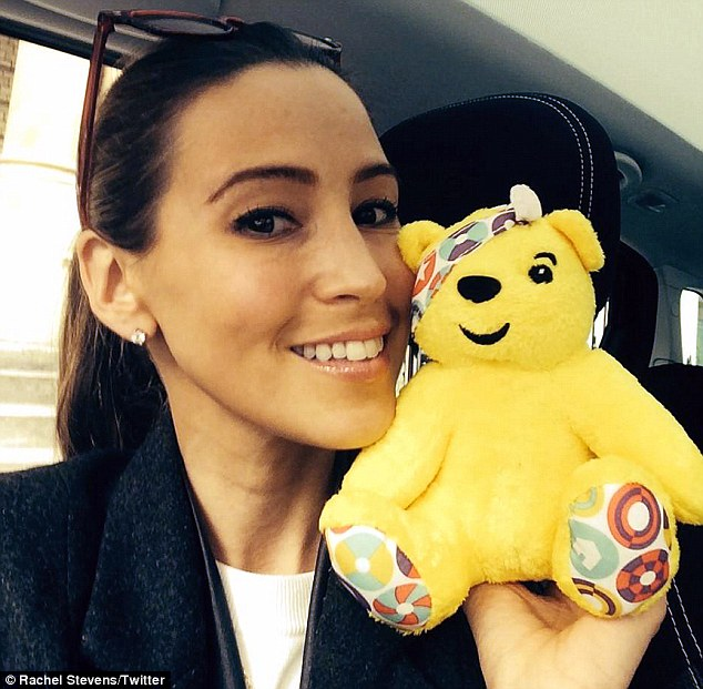 'We're back!': Rachel shared a picture on Twitter of herself with a mini Pudsey bear