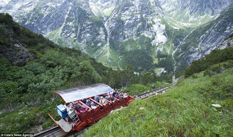 On top of the world: The red funicular was converted into a passenger train in 2001