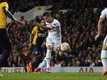 Europa League. Tottenham Hotspur v Tripoli 23/10/14: Kevin Quigley/Daily Mail/Solo Syndication Erik Lamela scores 2-0