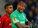 LILLE, FRANCE - OCTOBER 23:  Vincent Enyeama of Lille appeals against Samuel Eto'o of Everton during the UEFA Europa League Group H match between LOSC Lille and Everton at Grand Stade Lille Metropole on October 23, 2014 in Lille, France.  (Photo by Dean Mouhtaropoulos/Getty Images)