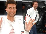 Picture Shows: Adam Levine  October 23, 2014\n \n Maroon 5 front man Adam Levine is seen arriving at the Virgin radio studios in Paris, France.\n \n The star, who was dressed in a casual white jacket, blue denim jeans and black shoes, was happy to stop and sign autographs for waiting fans.\n \n Non Exclusive\n UK RIGHTS ONLY\n \n Pictures by : FameFlynet UK © 2014\n Tel : +44 (0)20 3551 5049\n Email : info@fameflynet.uk.com