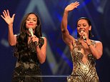 LONDON, ENGLAND - OCTOBER 22:  Sarah-Jane Crawford and Mel B onstage at the MOBO Awards at SSE Arena on October 22, 2014 in London, England.  (Photo by Dave J Hogan/Getty Images)