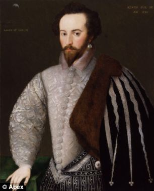The stricken 50ft boat set sail in 1617 as part of a fleet led by Sir Walter Raleigh (pictured) looking for the mythical riches of El Dorado