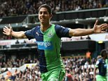 Ayoze Perez  of Newcastle United celebrates scoring his sides second goal