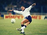 England legend Paul Gascoigne performs the rabona in 1991 as he dons the Three Lions jersey