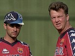 Assistant trainer Jose Mourinho (L) and Head Coach Louis van Gaal (R) of Barcelona during the season 1997/1998 in Barcelona, Spain. (Photo by VI Images via Getty Images)