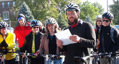 Ben Weaver kicked off the Festival with a bikeworm ride and poem!
