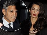 October 25, 2014: October 25, 2014  George Clooney and Amal Aladdin leave their Oxfordshire home heading to their UKN wedding reception at Danesfield House Hotel in Marlow.  Non Exclusive Worldwide Rights Pictures by : FameFlynet UK © 2014 Tel : +44 (0)20 3551 5049 Email : info@fameflynet.uk.com