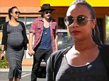 Zoe Saldana and hubby Marco Perego go to brunch holing hands in Studio City. Zoe looks like she is due any day. October 26, 2014 X17online.com