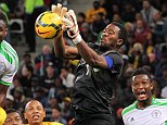 CAPE TOWN, SOUTH AFRICA - SEPTEMBER 10: South African goalkeeper Senzo Meyiwa during the Orange AFCON, Morocco 2015 Final Round Qualifier match between South Africa and Nigeria at Cape Town Stadium on September 10, 2014 in Cape Town, South Africa. (Photo by Carl Fourie/Gallo Images)