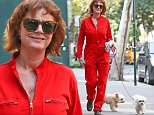 EXCLUSIVE: Susan Sarandon spotted with her dogs while out and about in New York City, wearing a bright red jumpsuit and matching sunglasses. The actress had one dog on a leash while her other dog did not have a leash, on October 25, 2014.\n\nPictured: Susan Sarandon\nRef: SPL872823  251014   EXCLUSIVE\nPicture by: Santi/Splash News\n\nSplash News and Pictures\nLos Angeles:310-821-2666\nNew York:212-619-2666\nLondon:870-934-2666\nphotodesk@splashnews.com\n