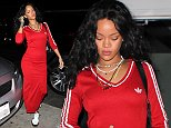 UK CLIENTS MUST CREDIT: AKM-GSI ONLY EXCLUSIVE: Santa Monica, CA - Rihanna returned to Giorgio Baldi, her favorite dinner spot in Santa Monica.  The pop diva dressed sporty in a red Adidas dress matched with white and black Adidas sneakers.  She accessorized with sparkling rings, bracelet and a Fenty double necklace.  Rihanna left the restaurant solo with a corked bottle of wine to go.  Pictured: Rihanna Ref: SPL875883  261014   EXCLUSIVE Picture by: AKM-GSI