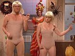 """NEW YORK, NEW YORK? Saturday, October 25, 2014. Saturday Night Live Jim Carrey guest hosts. Iggy Azalea performs as musical guest. Jeff Daniels make a cameo. Cast: Vanessa Bayer, Aidy Bryant, Michael Che, Pete Davidson, Taran Killam, Kate McKinnon, Bobby Moynihan, Jay Pharoah, Kenan Thompson, and Cecily Strong; featuring Beck Bennett, Colin Jost, Kyle Mooney, and Sasheer Zamata.  Photograph:© NBC, """"Disclaimer: CM does not claim any Copyright or License in the attached material. Any downloading fees charged by CM are for its services only, and do not, nor are they intended to convey to the user any Copyright or License in the material. By publishing this material, The Daily Mail expressly agrees to indemnify and to hold CM harmless from any claims, demands or causes of action arising out of or connected in any way with user's publication of the material."""""""