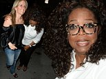 October 25, 2014: Oprah Winfrey and best friend Gayle King are seen leaving Prime 112 restaurant after finishing Oprah's The Life You Want Weekend at American Airlines Arena in Miami Beach, Florida. While pulling away Oprah's Escalade with driver ran over the foot of a lady arriving for dinner. Oprah got out of the car to make sure the woman was alright. It appear the tire went over the front of her shor not injuing the woman.\nMandatory Credit: INFphoto.com Ref: infusmi-13|sp|CODE000
