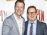 """HOLLYWOOD, CA - OCTOBER 22:  Actor Sean Hayes (L) and a guest arrive at the opening night of """"PIPPIN"""" at the Pantages Theatre on October 22, 2014 in Hollywood, California.  (Photo by Rich Polk/Getty Images for Hollywood Pantages)"""