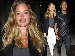 UK CLIENTS MUST CREDIT: AKM-GSI ONLY\nEXCLUSIVE: West Hollywood, CA - Victoriaøs Secret angel Doutzen Kroes and her husband Sunnery James hold hands as they leave a dinner date at Craigøs Restaurant in West Hollywood. The Dutch model and her DJ husband recently welcomed their second child, Myllena Mae Gorrøin late July.\n\nPictured: Doutzen Kroes, Sunnery James\nRef: SPL875870  261014   EXCLUSIVE\nPicture by: AKM-GSI / Splash News\n\n