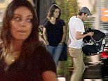 *EXCLUSIVE* **SHOT ON 10/24/14** Sherman Oaks, CA - New parents Mila Kunis and Ashton Kutcher take their newborn daughter Wyatt out to The Gadarene Swine where they met up with a couple of friends.  Mila showed off her post-baby body and kept her look simple in a black tee with capri jeans and red slip on shoes.  Ashton carried his daughter in a baby carrier and safely put her inside the car.  After the group chatted outside, they said their goodbyes and went their separate ways.\\n\\nAKM-GSI          October 24, 2014\\n\\n\\nTo License These Photos, Please Contact :\\n\\nSteve Ginsburg\\n(310) 505-8447\\n(323) 423-9397\\nsteve@akmgsi.com\\nsales@akmgsi.com\\n\\nor\\n\\nMaria Buda\\n(917) 242-1505\\nmbuda@akmgsi.com\\nginsburgspalyinc@gmail.com