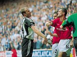 Manchester United Captain Roy Keane takes a swing at Newcastle captain Alan Shearer during the FA Barclaycard Premiership match between Newcastle United and Manchester United played at St. James Park in Newcastle, England.  Newcastle won the match 4- 3. \ Mandatory Credit: Gary M Prior /Allsport