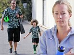 EXCLUSIVE. COLEMAN-RAYNER. Los Angeles, CA, USA. \nOctober 25th, 2014\nKendra Wilkinson has agreed to take her husband Hank Baskett back after coming clean regarding his affair with a transexual model. Hank and 4 year old son Hank Jr wore matching camouflage team outfits as the family were spotted leaving Hank Jr's soccer match. \nCREDIT LINE MUST READ: MLJC/Coleman-Rayner\nTel US (001) 323 545 7584 - Mobile\nTel US (001) 310 474 4343 - Office\nwww.coleman-rayner.com