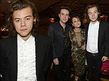 """LONDON, ENGLAND - OCTOBER 28:  (L to R) Nick Grimshaw, Jaime Winstone and Harry Styles attend the launch of Annabel's Docu-Film """"A String of Naked Lightbulbs"""" at Annabel's on October 28, 2014 in London, England.  (Photo by David M. Benett/Getty Images for Birley Group - Annabel's)"""