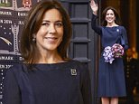 Crown Princess Mary attending the presentation of this year's Christmas stamp at Copenhagen city hall, October 27, 2014.