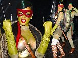 Rihanna was spotted celebrating Halloween in NYC with a couple of her closest friends. The Foursome dressed up as the Famous Ninja Turtles, with Rihanna being Raphael. They showed off their best poses before heading into Opus Nightclub in the Meatpacking District.  Pictured: Rihanna Ref: SPL879948  011114   Picture by: 247PapsTV / Splash News  Splash News and Pictures Los Angeles: 310-821-2666 New York: 212-619-2666 London: 870-934-2666 photodesk@splashnews.com