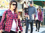 UK CLIENTS MUST CREDIT: AKM-GSI ONLY EXCLUSIVE: A heavily pregnant Kourtney Kardashian and her partner Scott Disick headed out to a Sunday dinner at King?s Fish House with their children Mason and Penelope.  Adorable little Penelope was dressed in a a Yeezus t-shirt with a pair of stylish shorts.  Kourtney, who is pregnant with her third baby, showcased her massive bump beneath a red and blue flannel shirt and white tee.  Pictured: Kourtney Kardashian Ref: SPL881079  021114   EXCLUSIVE Picture by: AKM-GSI