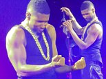 R&B star Usher Raymond brings his 'UR Experience' tour to Toronto. During the performance, someone throws a bra on stage, and Usher gets excited, dances around the bra and picks it up to examine it. \n\nPictured: usher raymond\nRef: SPL872841  021114  \nPicture by: Splash News\n\nSplash News and Pictures\nLos Angeles: 310-821-2666\nNew York: 212-619-2666\nLondon: 870-934-2666\nphotodesk@splashnews.com\n
