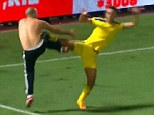 Fight between football player and a football fan in the derby of Tel Avivv