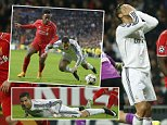 Real Madrid's Cristiano Ronaldo, centre, reacts after missing a chance during a Group B Champions League soccer match between Real Madrid and Liverpool at the Santiago Bernabeu stadium in Madrid, Spain, Tuesday Nov. 4, 2014. (AP Photo/Andres Kudacki)