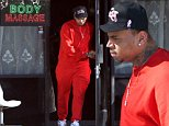 EXCLUSIVE: Troubled singer Chris Brown leaves a dark and dingy massage parlor in the San Fernando Valley,Ca wearing an all orange sweat suit after an hour long visit and heads to a recording studio.\n\nPictured: Chris Brown\nRef: SPL880232  051114   EXCLUSIVE\nPicture by: MOVI Inc. / Splash News\n\nSplash News and Pictures\nLos Angeles: 310-821-2666\nNew York: 212-619-2666\nLondon: 870-934-2666\nphotodesk@splashnews.com\n