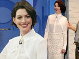 Actress Anne Hathaway, wearing a white blouse with a white embroidered pencil skirt and maroon high heels, visits Good Morning America in Times Square on November 5, 2014 in New York City\n\nPictured: Anne Hathaway\nRef: SPL882894  051114  \nPicture by: Christopher Peterson/Splash News\n\nSplash News and Pictures\nLos Angeles: 310-821-2666\nNew York: 212-619-2666\nLondon: 870-934-2666\nphotodesk@splashnews.com\n