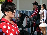 Kris Jenner is spotted in a a Minnie Mouse onesie while celebrating her 59th birthday at Disneyland in Anaheim, CA with daughter Kourtney Kardashian and grandson Mason.\n\nPictured: Kris Jenner\nRef: SPL882545  051114  \nPicture by: London Entertainment /Splash\n\nSplash News and Pictures\nLos Angeles: 310-821-2666\nNew York: 212-619-2666\nLondon: 870-934-2666\nphotodesk@splashnews.com\n