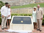 The Prince of Wales and The Duchess of Cornwall unveil a commemorative plaque at the  Fort of San Felipe, Cartagena, Colombia for soldiers who died in 1741 as British forces attempted to take the city of Cartagena, on the fourth day of the Prince of Wales and Duchess of Cornwall's tour to Colombia and Mexico.