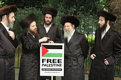 Members of_Neturei Karta Orthodox Jewish group protest against Israel's actions