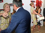 (L-R) Neighbours stars past and present Margot Robbie, Totti Goldsmith and Stefan Dennis are seen reuniting in the Swisse marquee on Stakes Day at Flemington Racecourse in Melbourne, Saturday, Nov. 7, 2014. Stakes Day, is the fourth and final day of the four day Melbourne Cup Carnival. (AAP Image/Julian Smith) NO ARCHIVING