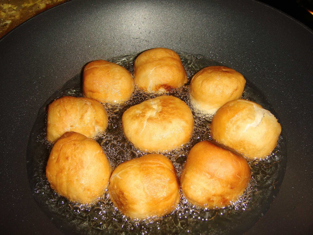 Jamaican Fried Dumplings Frying
