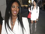 Wearing a white mini dress and grey suede boots, reality TV star Kenya Moore leaves 'Good Day New York'.  Pictured: Kenya Moore Ref: SPL887181  101114   Picture by: Fortunata / Splash News  Splash News and Pictures Los Angeles: 310-821-2666 New York: 212-619-2666 London: 870-934-2666 photodesk@splashnews.com