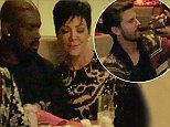 Kris Jenner eats a romantic dinner with boyfriend Corey Gamble at Stack Las Vegas with friends and family. Scott Disick and Jonathan Cheban were also introduced to Corey as they also enjoyed some conversation with Kris and her new guy before heading to celebrate her birthday at 1OAK nightclub in the Mirage hotel in Las Vegas. Kris had a big smile on her face as she sat next to Corey and held a glass in her hand.  Pictured: Kris Jenner, Corey Gamble, Jonathan Cheban, Scott Disick Ref: SPL886524  091114   Picture by: Splash News  Splash News and Pictures Los Angeles: 310-821-2666 New York: 212-619-2666 London: 870-934-2666 photodesk@splashnews.com