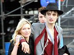 Mandatory Credit: Photo by South West News Service/REX (672192k)  23 June - Kate Moss and Pete Doherty  Glastonbury Festival, Britain - Jun 2007